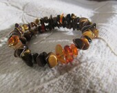 Tiger Eye and Amber Jewelry Bracelet, Healing Stones Memory Wire Bracelet, Natural Gemstone Synergy, Amber and Tiger Eye Healing Energy