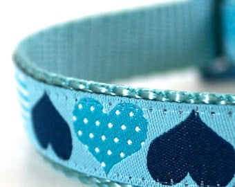 Blue Hearts Dog Collar, Valentine's Day Collar, Adjustable Pet Collar
