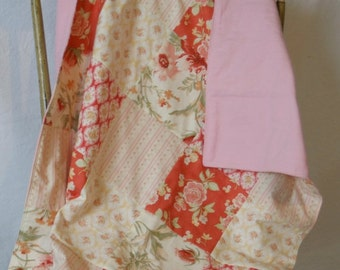 Sale Baby Girl Blanket, Baby Girl Swaddle, Patchwork, Cottage Chic - Shabby Pink and Coral - Ready to Ship