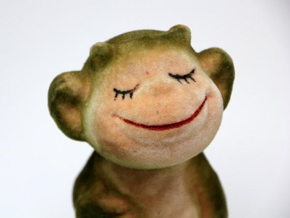 Vintage Russian flocking toy smiling MONKEY from Soviet Unions 70s