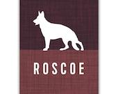 Personalized German Shepherd Dog Print, Silhouette Art, Custom Colors