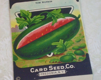 Card Seed Company, Watermelon seed packet, 1920's unused, Tom Watson