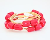 Red Coral and Gold Wire Bangle Bracelet