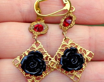 Rose Cameo Earrings, Dangling Black Roses, Gold Filigree, Valentine Earrings, Edwardian Fantasy, OOAK