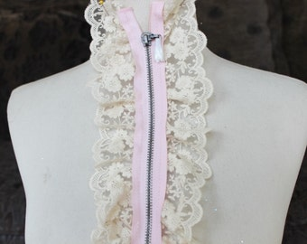 Cute zipper    applique  with  ivory  color ruffled  1 pieces listing