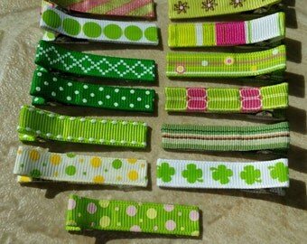 Always Green Hair Clip Set Of 15 Ready To Ship