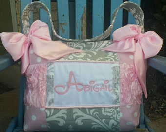 So Pretty and Elegant light pink new born baby girl diaper bag light pink premier polka dot lace trim light pink satin HUGE beautiful Custom