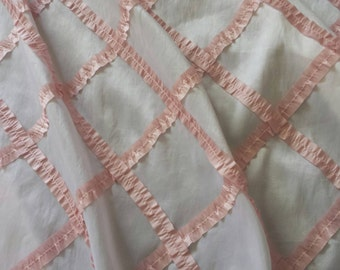 "Pink/Peach Ribbon Ruffled Diamonds Taffeta Satin Fabric By the Yard 59"" Wide baby bedding apparel pillows drapes curtains beautiful quality"