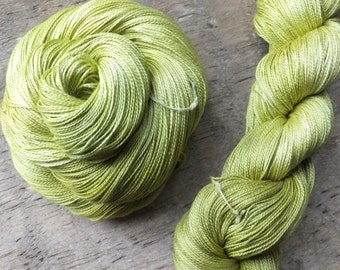 Golden Green Delicious - Hand Dyed Silk Lace Yarn