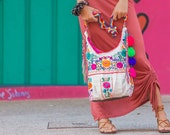 Crossbody Hobo Handbag in Mexican Embroidery & Fringe Details by Erica Maree Free Shipping