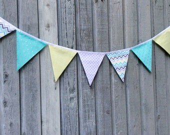 Fabric Bunting Flags party Decoration Metallic silver dots on Aqua and white, chartreuse chevron, grey chevron