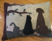 Kitty Cat and Dog Applique Pillow....Spring Time Picnic