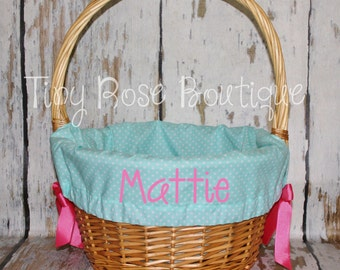 Personalized Easter Basket Liner -  Aqua Polka Dot