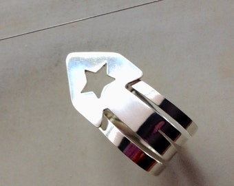 Star Banjo Thumbpick, Solid Argentium sterling silver, Handmade, custom banjo pick, banjo gift