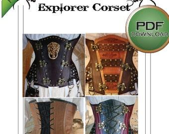 "Steampunk Under bust Corset Sewing Pattern. Instant Digital download. XL 38 -40 -42"" waists plus sized Steel boned Fantastic fitting"
