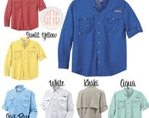 Popular items for embroidered pfg on etsy for Embroidered columbia fishing shirts