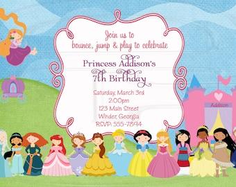 Princess Bounce House Invitation  -Digital File