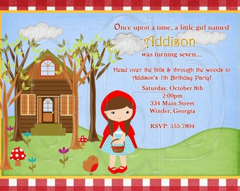 Little Red Riding Hood Invitation Inspired-Digital File