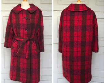 Pink and Red Plaid Mohair Belted Coat   60s Vintage Winter Blanket Coat   Women Medium
