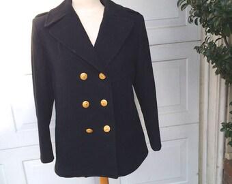 Vintage Military Pea Coat Wool Women's Navy Black Officer Peacoat Jacket 10S Medium Petite