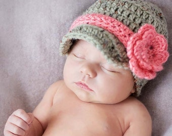 Baby girl Hat - Newborn Hat - Infant Hat - Crochet Hat - Photo Prop - Baby Hat - Photography Props - Crochet Hats
