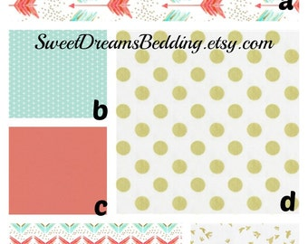 Custom Crib Bedding You Design   Bumper and Bedskirt  Croal Aqua Gold