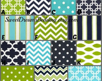 Custom Crib Bedding You Design   Bumper and Bedskirt in Navy,green aqua
