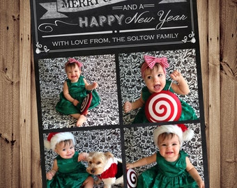 SAME DAY TURNAROUND Christmas Photo Card // Custom Holiday Greeting Card  // Chalkboard Typography // 4 or 5 pictures // 021