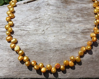 Gold Freshwater Pearls Necklace