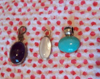 sterling silver and stones pendants