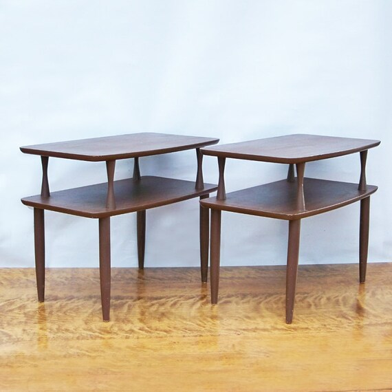 two mid century modern two tiered side tables end tables. Black Bedroom Furniture Sets. Home Design Ideas