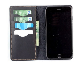 Baseball Glove Leather Wallet for Android Smartphone in BLACK (Free Personalization)
