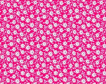 ON SALE - Red Pam Kitty Fabric Pam Kitty Garden Fabric Red Daisy Fabric Red Quilting Fabric - By The 1/2 Yard