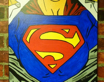 SUPERGIRL Contemporary POP Shadow Art Painting Wall Decor 16 X 20 Clearance