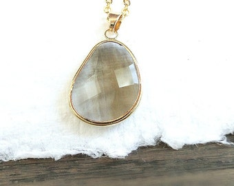 Quartz oval pendant necklace, gold-filled chain necklace, taupe tan crystal necklace, charm necklace, crystal jewelry, glass pendant