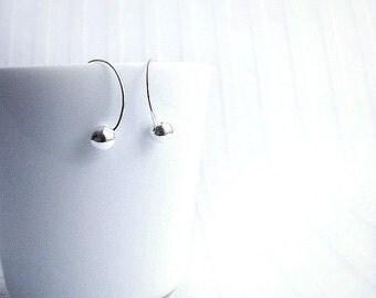 Sterling Silver hoop earrings, delicate earrings,  simple jewelry, modern jewelry, minimal jewelry, dangle earrings, long earrings