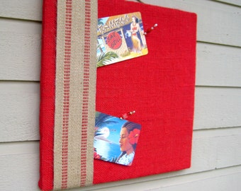 Red Bulletin Board in Burlap with Upholstery webbing in our hand made Box frame, custom colors available