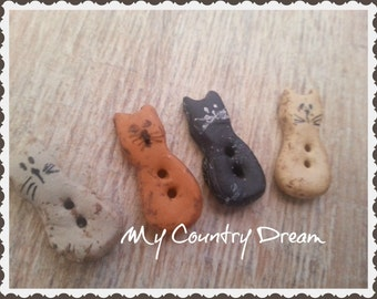 Cats Primitive - Handmade Buttons - set of 4 pcs.