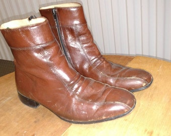 70's Men's ankle Beatle boots in brown leather