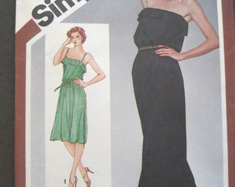 Vintage 1980 Strapless Dress Pattern Disco Pullover Knit Simplicity 9802 Size 10