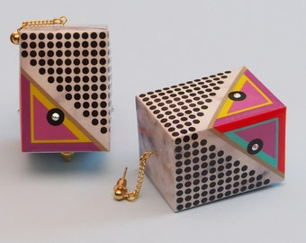 "Geometric Earrings // Mod Earrings // 60s Style Earrings // Op Art Earrings // Marbleized Earrings // Statement Earrings // The ""Rudi"""