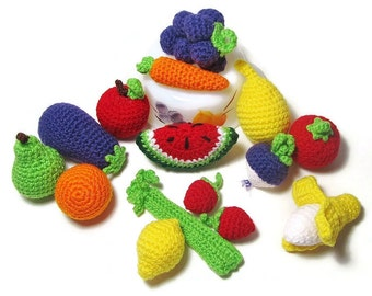 6 Pieces of Crochet Play Food - Crochet Fruits - Crochet Vegetables - Crochet Veggies - Play Food - Play Kitchen Food