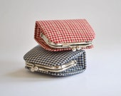 Check Plaid in Red or Blue - Cute Tiny Kiss lock Coin Purse/Jewelry holder -  Korean fabric