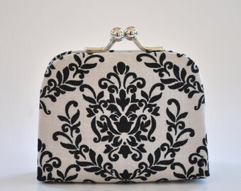 Damask in Grey - Tiny Kiss lock Coin Purse/Jewelry holder
