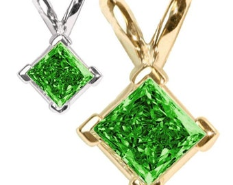 green diamond pendant  14k gold