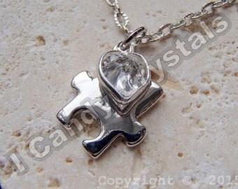 Autism Puzzle Piece Crystal Heart Necklace