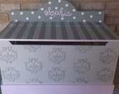 Benches Toy Boxes Kids Baby Furniture Gray Damask Pink Minky Baby Nursery Bench Toy Box HOPE Chest Toy Bin Toy Storage Custom Kids Baby