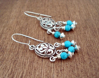 Turquoise Sterling Silver Earrings Filigree Chandelier Earrings Boucles D'Oreilles Argent et Turquoise