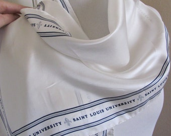 "SALE!!  Lovely Solid White Soft Silk Scarf - 13"" x 56"" Long - Saint Louis University"