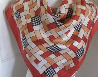 "ECHO // Beautiful Rust Ivory Soft Silk Scarf  - 28"" Inch 71cm Square"